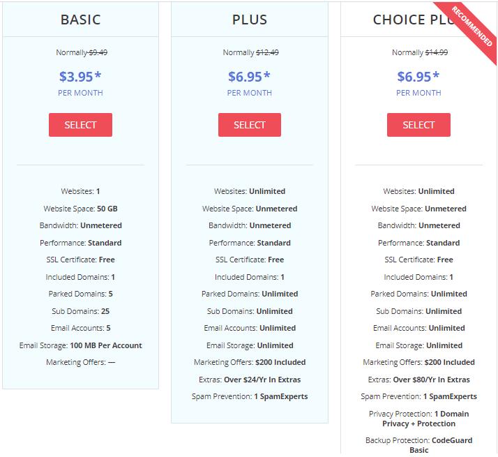 justhost hosting plans min
